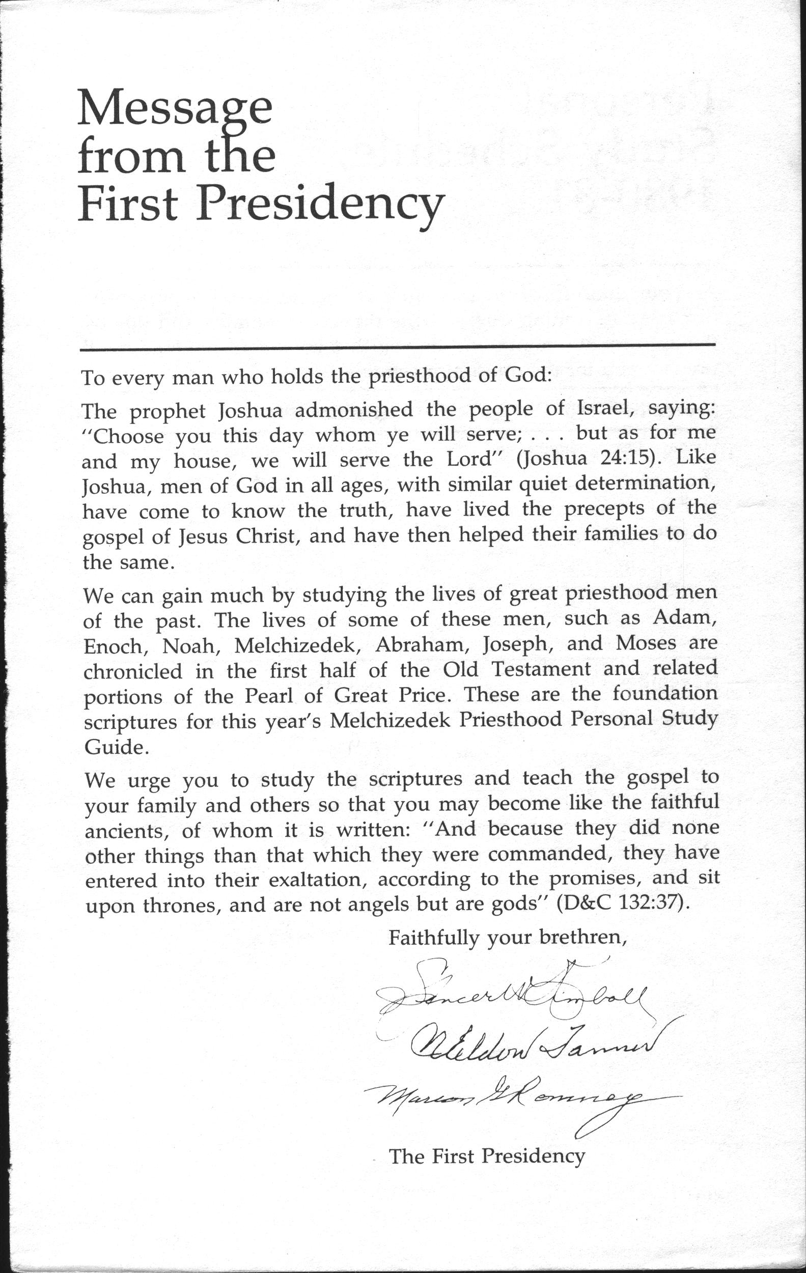 First Presidency Message, page vii.